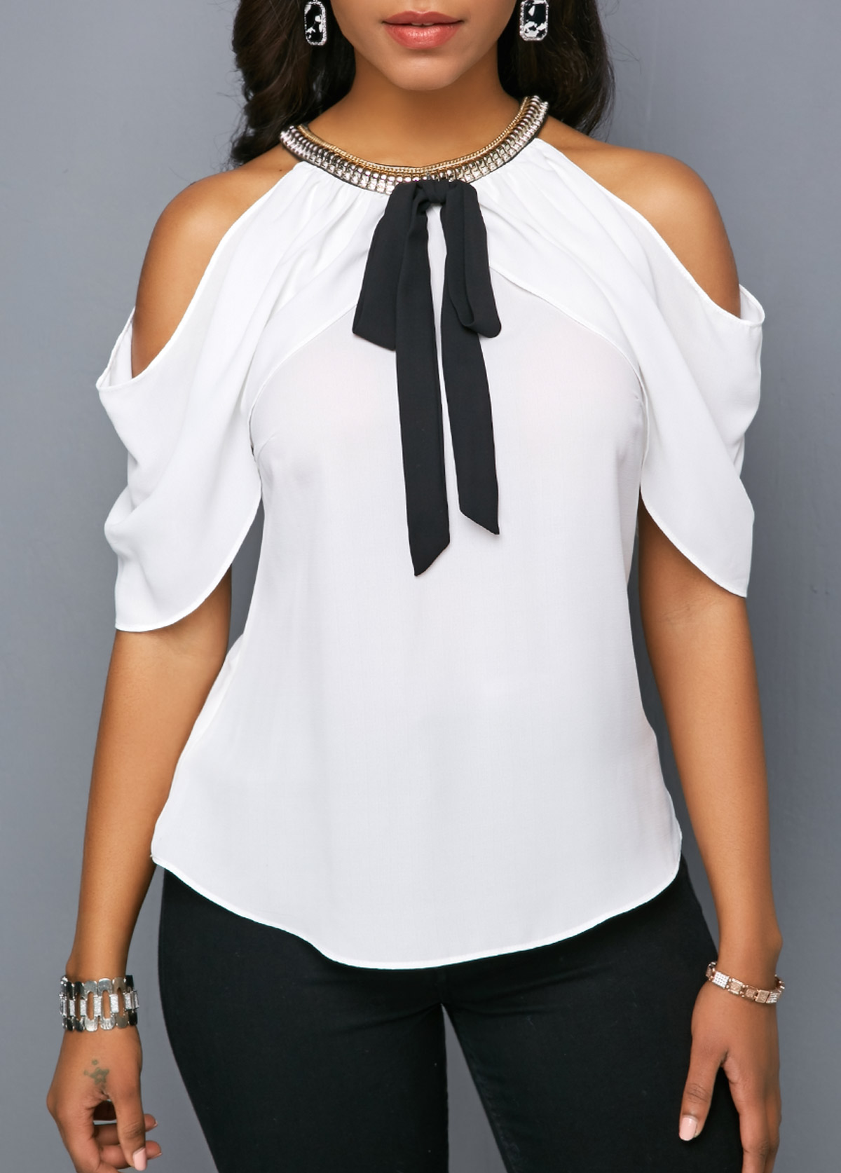 Embellished Neck Cold Shoulder Bowknot Detail Blouse