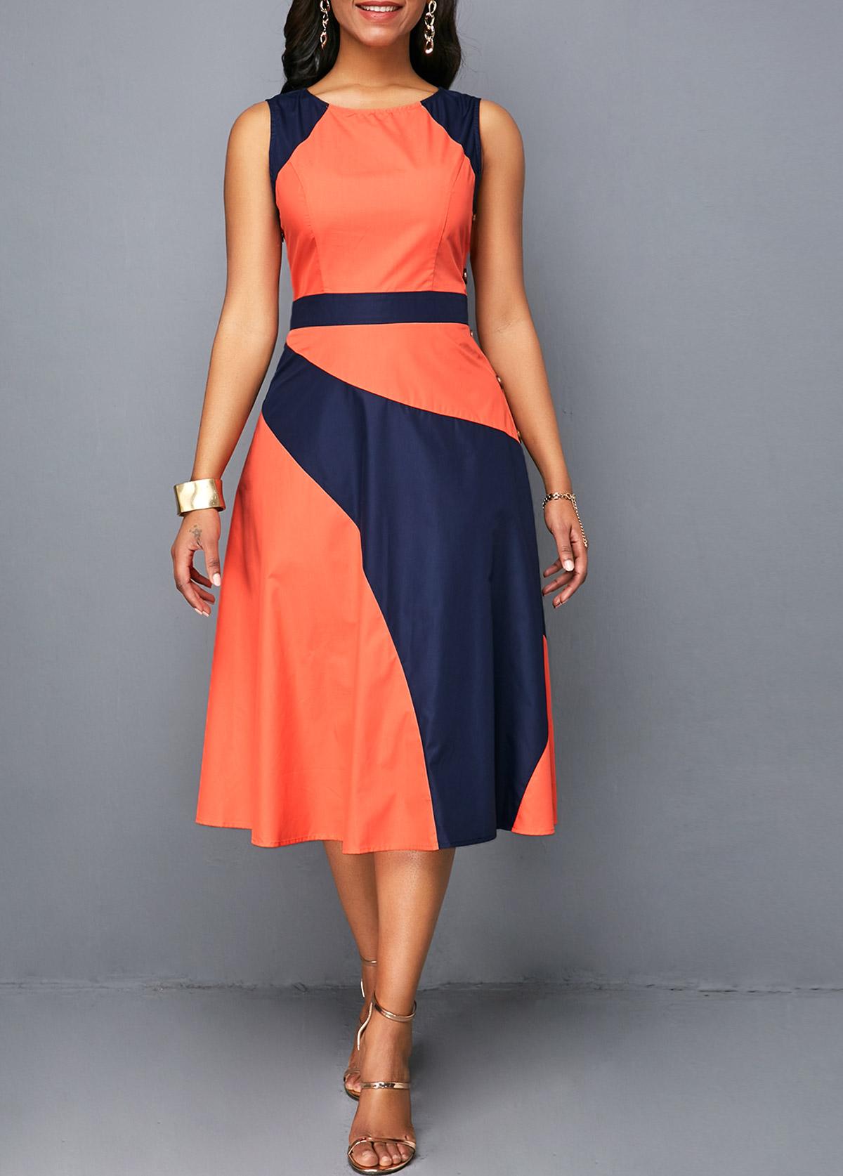Button Detail Sleeveless High Waist Dress