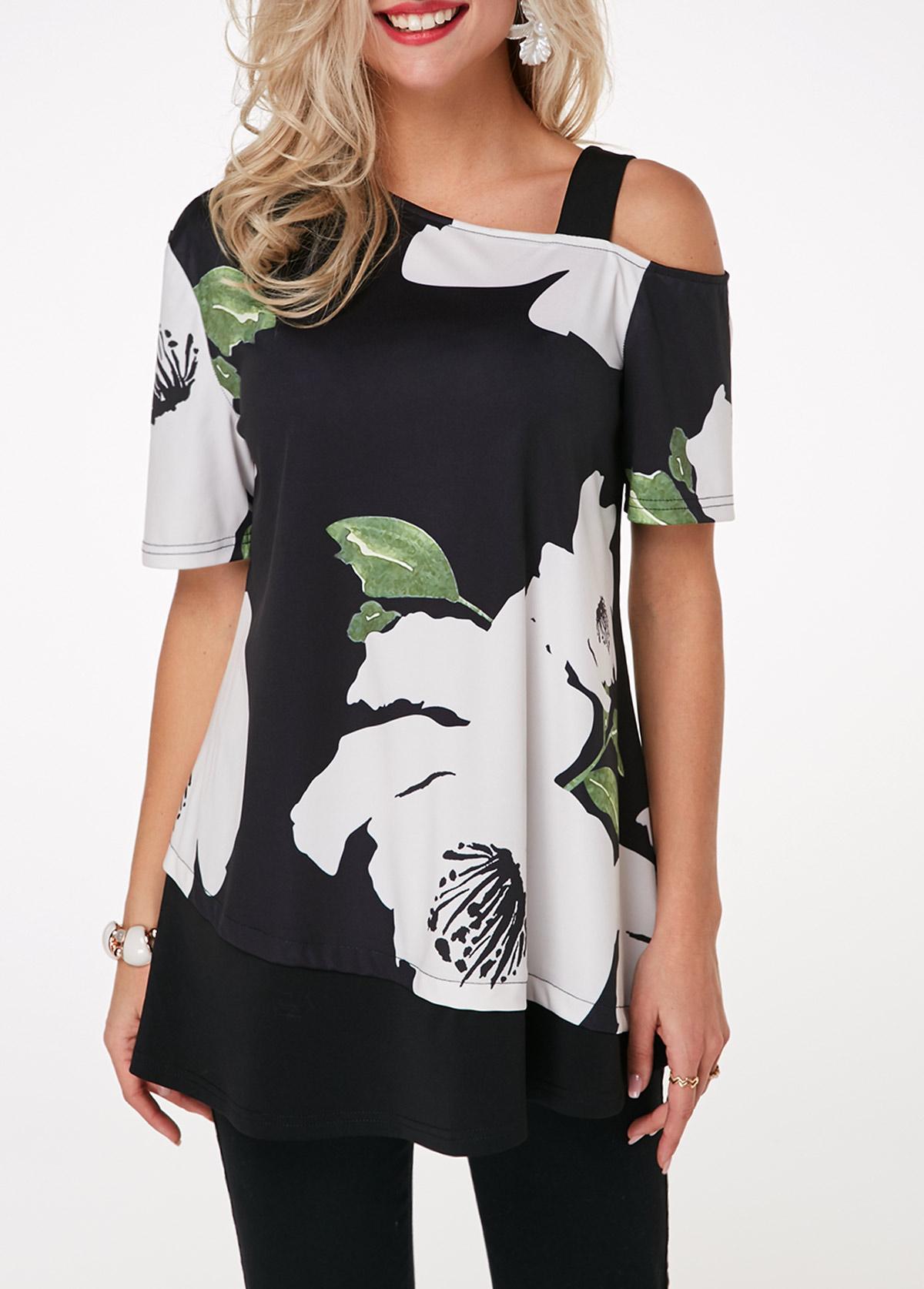 Flower Print Cold Shoulder Short Sleeve T Shirt