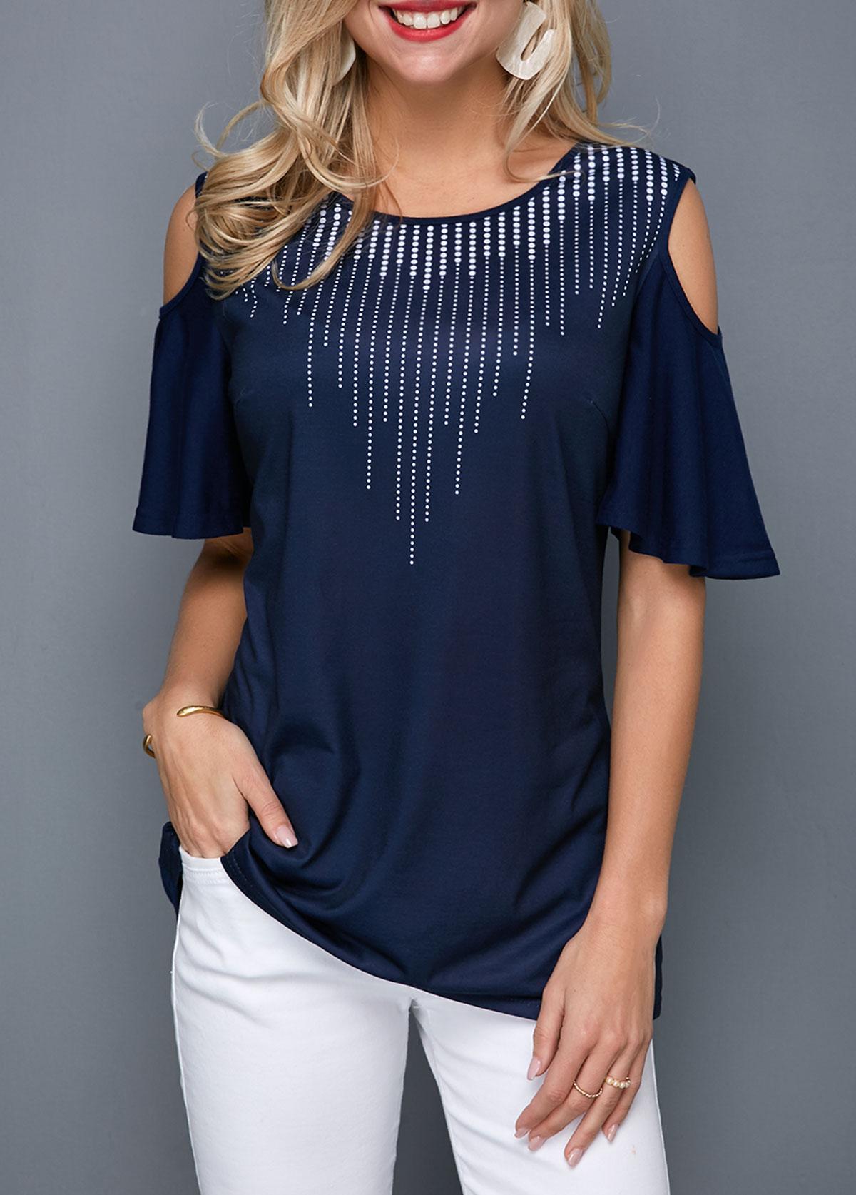 Cold Shoulder Dot Print Navy Blue T Shirt