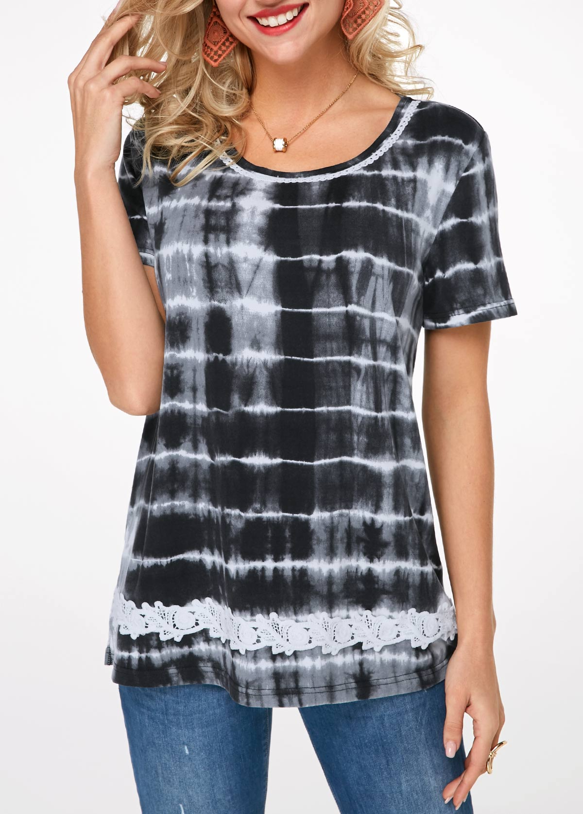 Printed Short Sleeve Lace Detail T Shirt