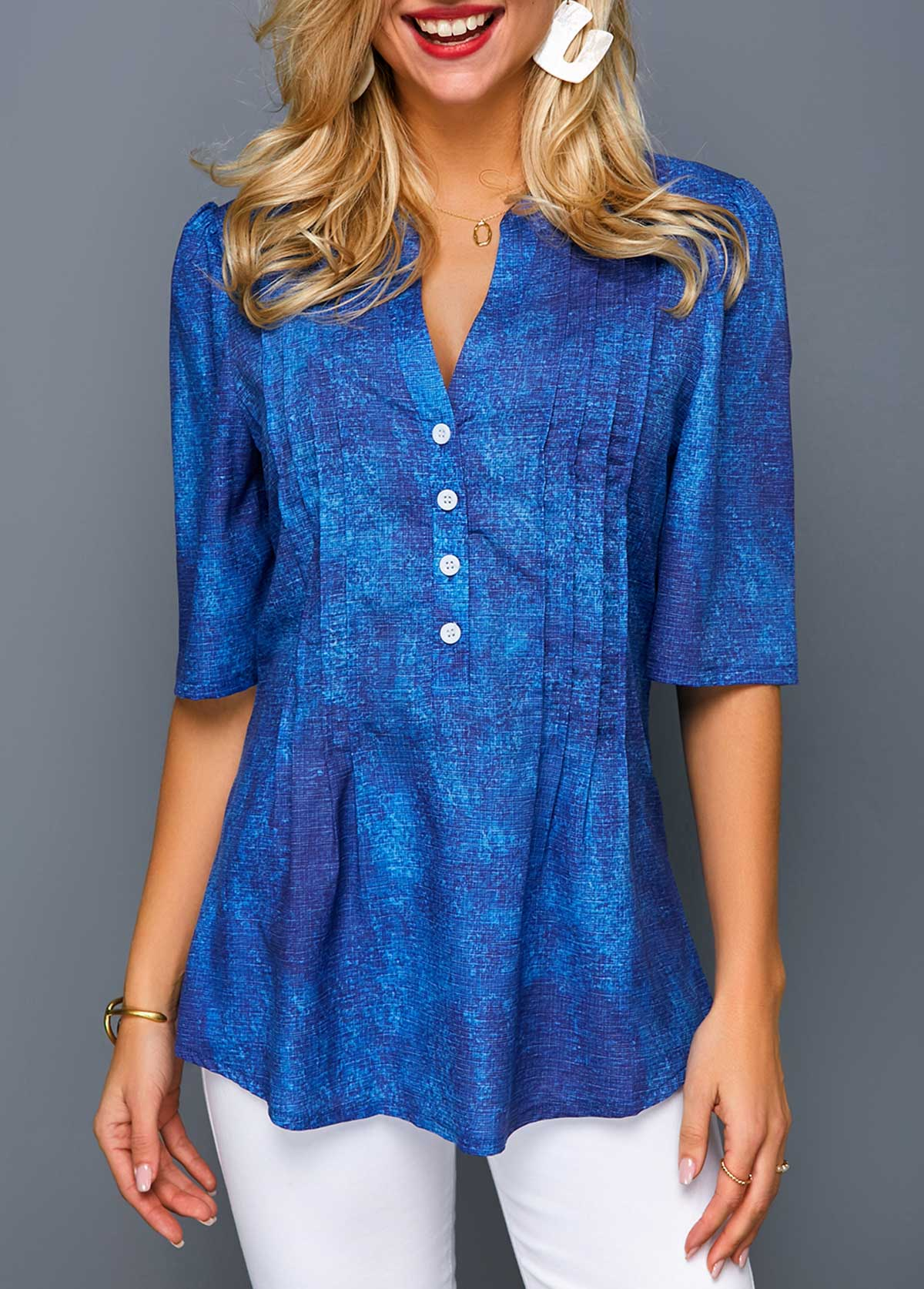 Crinkle Chest Button Front Half Sleeve Blouse