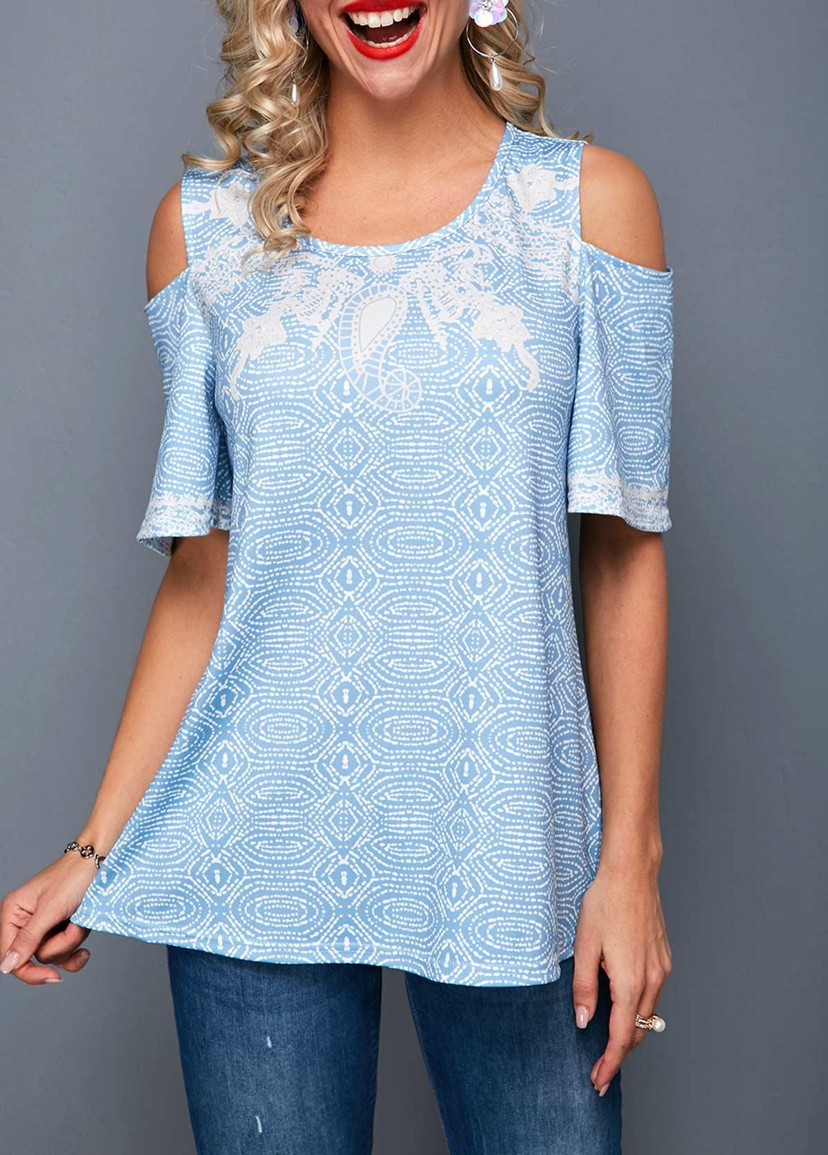 Cold Shoulder Geometric Print Round Neck T Shirt