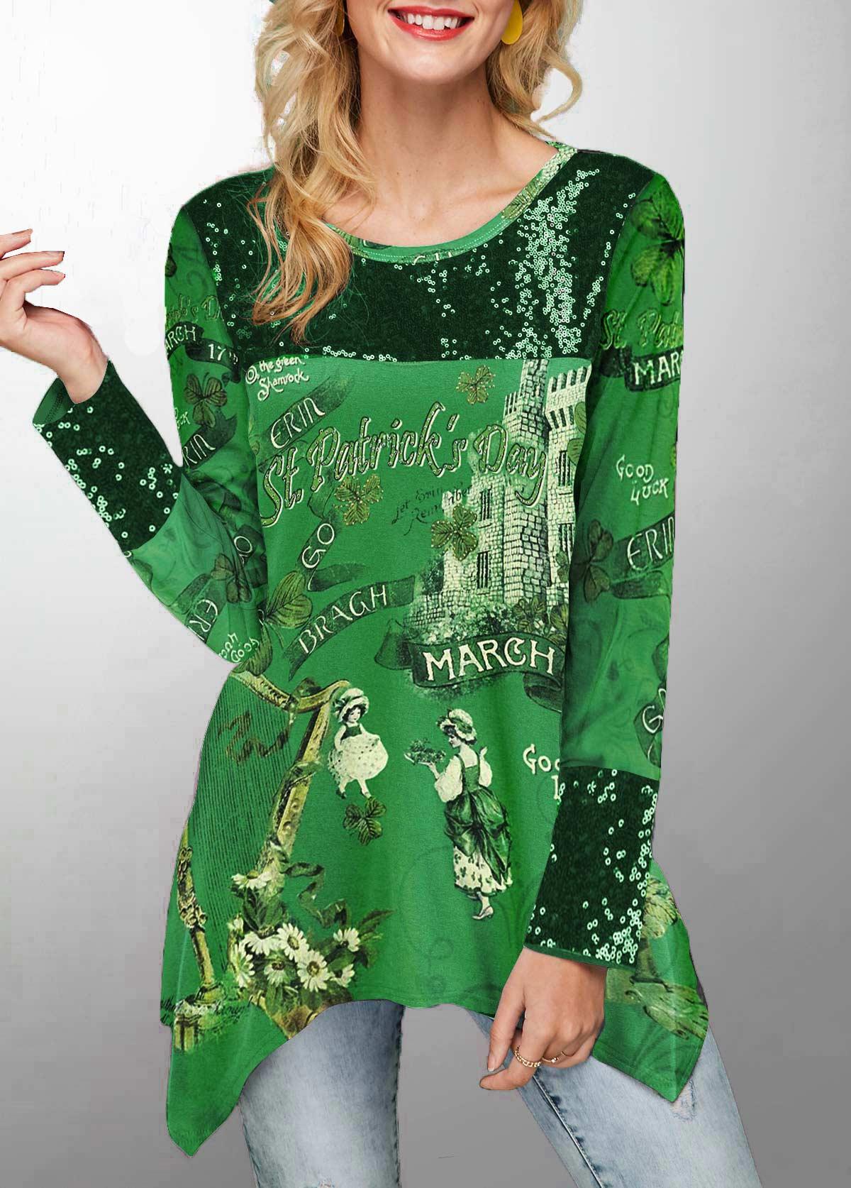 Sequin Embellished Printed St Patricks Day T Shirt