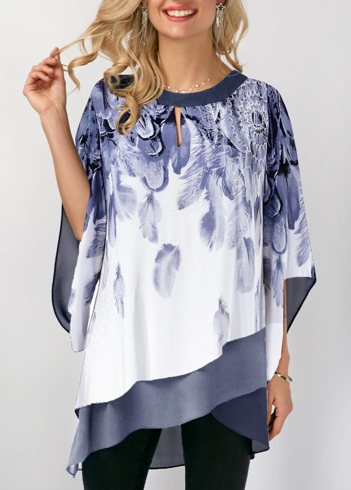 Three Quarter Sleeve Asymmetric Hem Printed Blouse