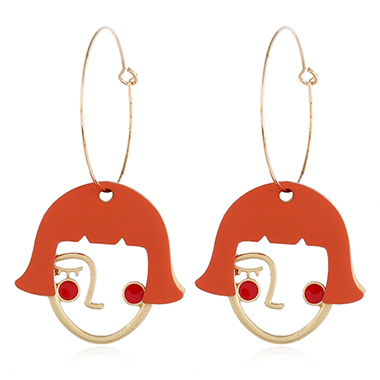 Orange Red Abstract Face Earrings for Lady