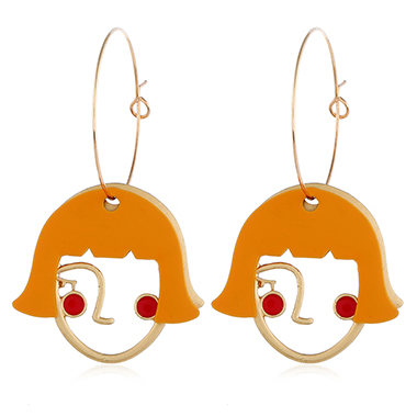 Abstract Face Pendant Earrings for Lady