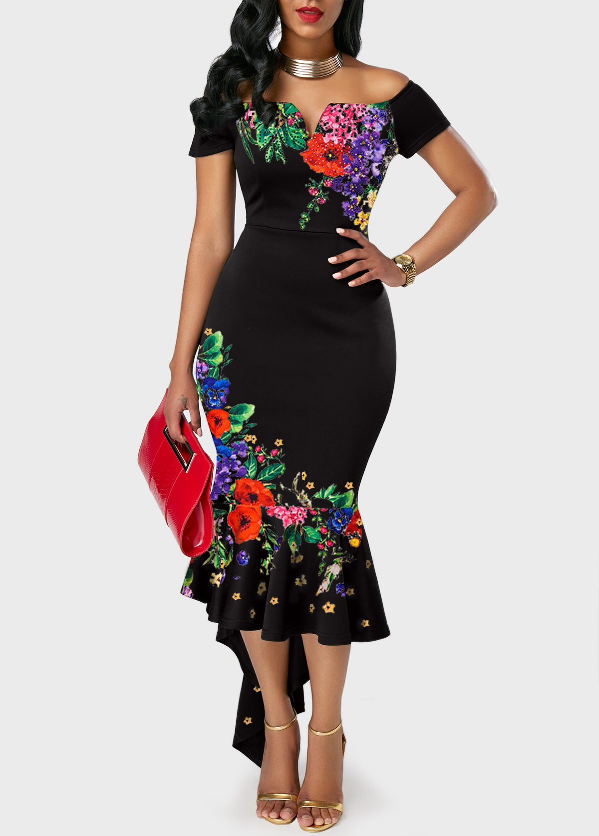 Retro Flower Print Off the Shoulder Black Sheath Dress
