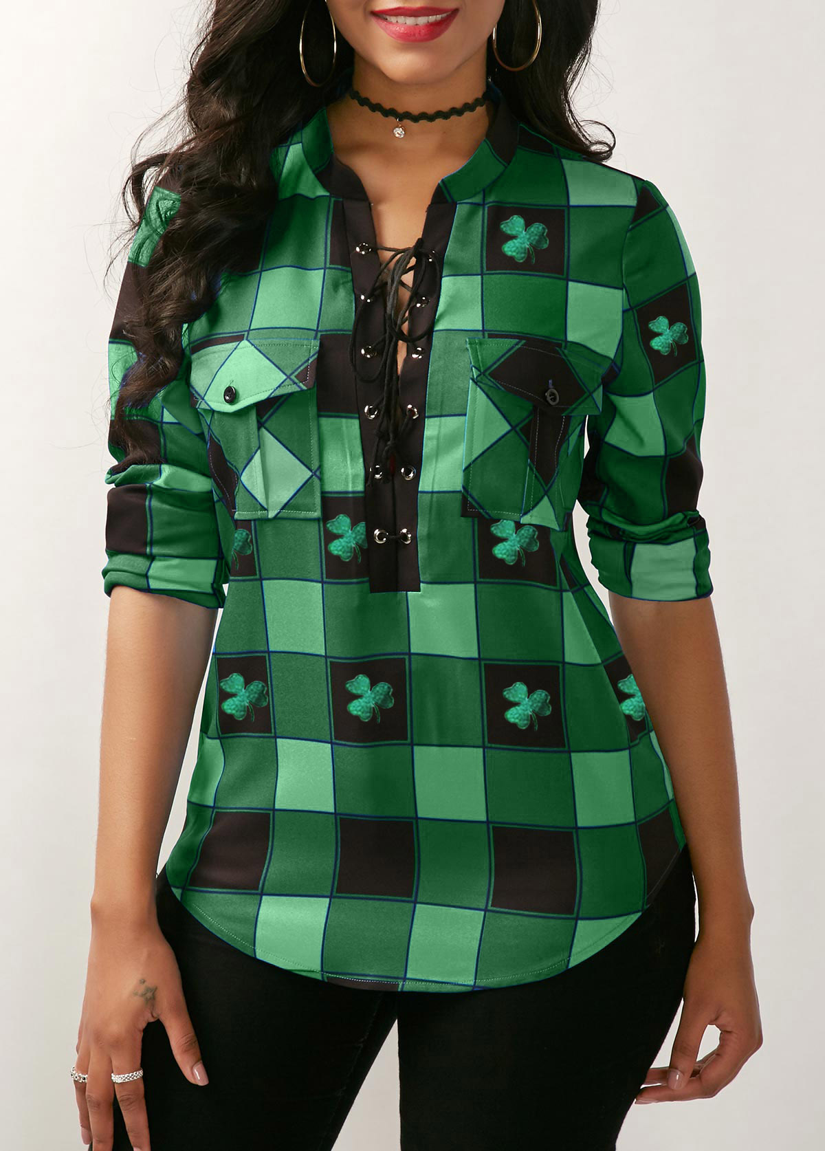 Lace Up Front Plaid Print Green ST Patricks Day Blouse
