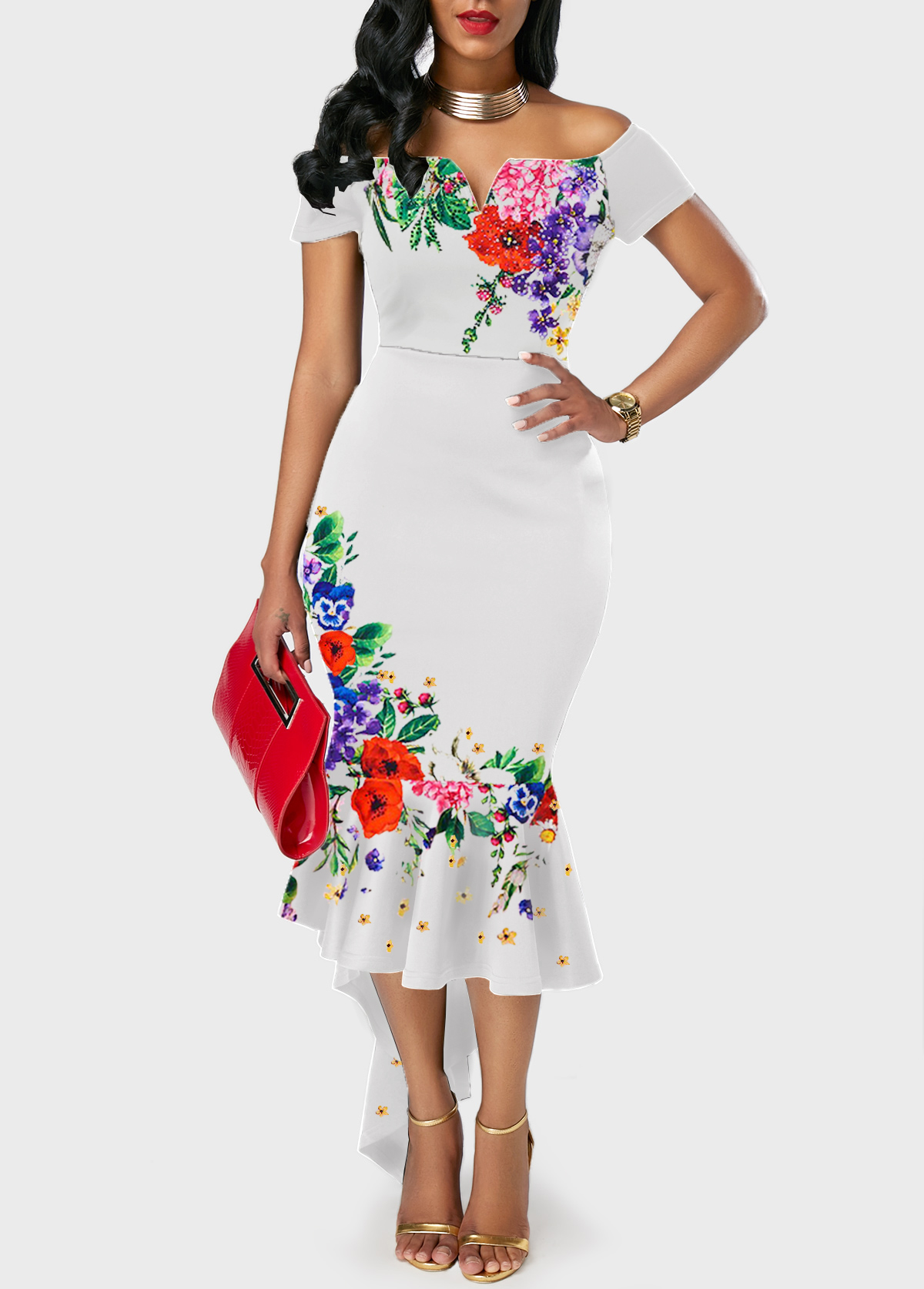White Off the Shoulder Flower Print Ruffle Hem Dress