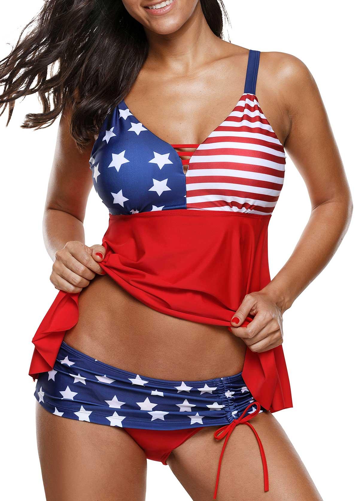 Flag Print Asymmetric Hem Tankini Top and Panty