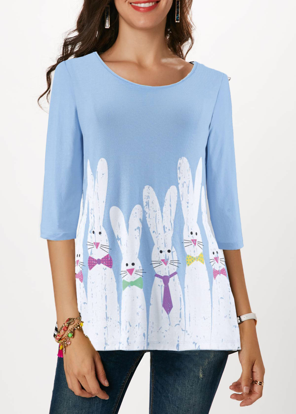 Rabbit Print Three Quarter Sleeve Light Blue Easter T Shirt