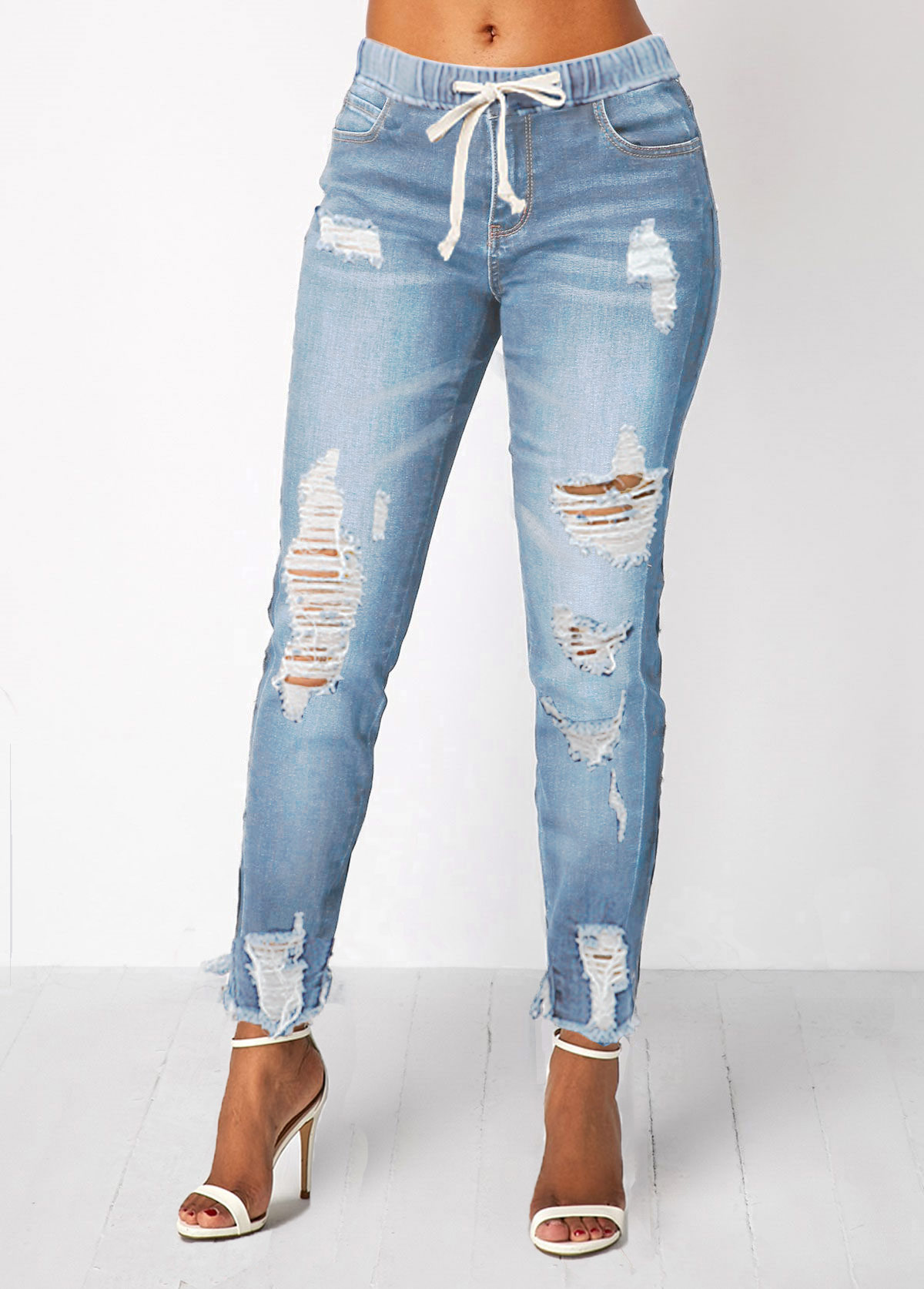 Light Blue Shredded Elastic Waist Pocket Jeans