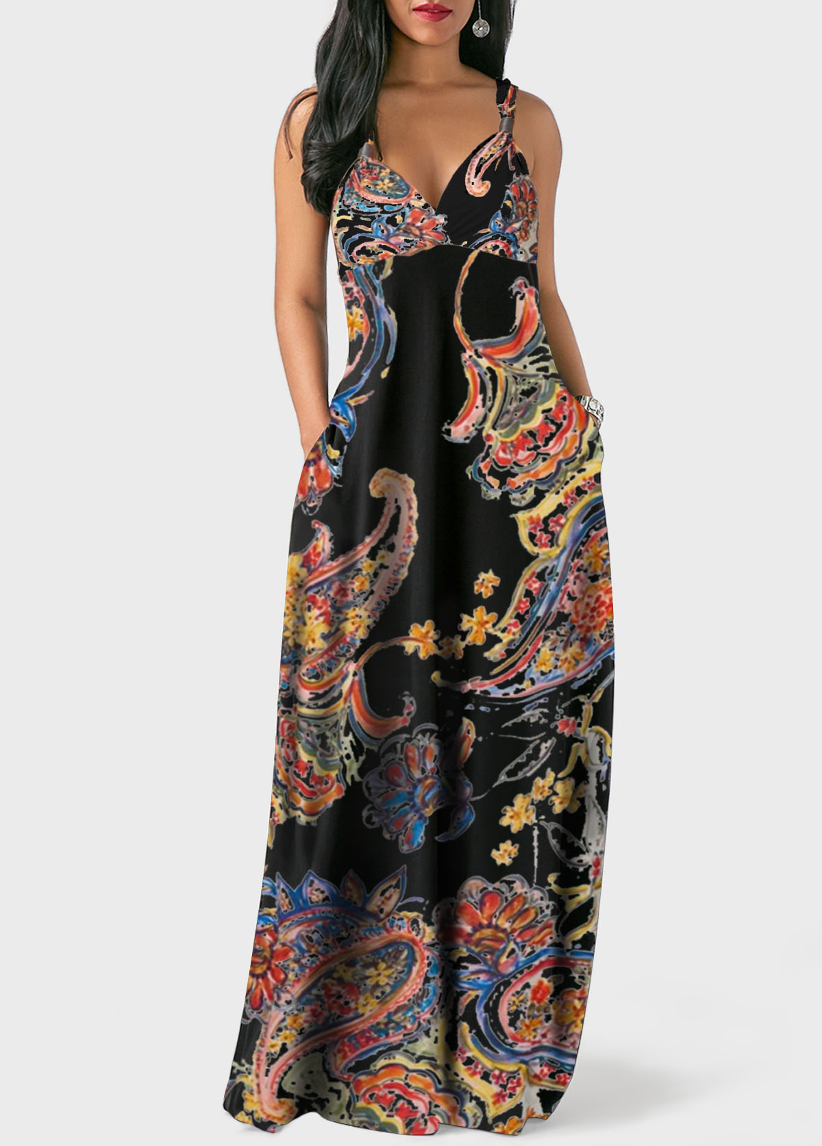 Spaghetti Strap Bohemian Print Pocket Dress