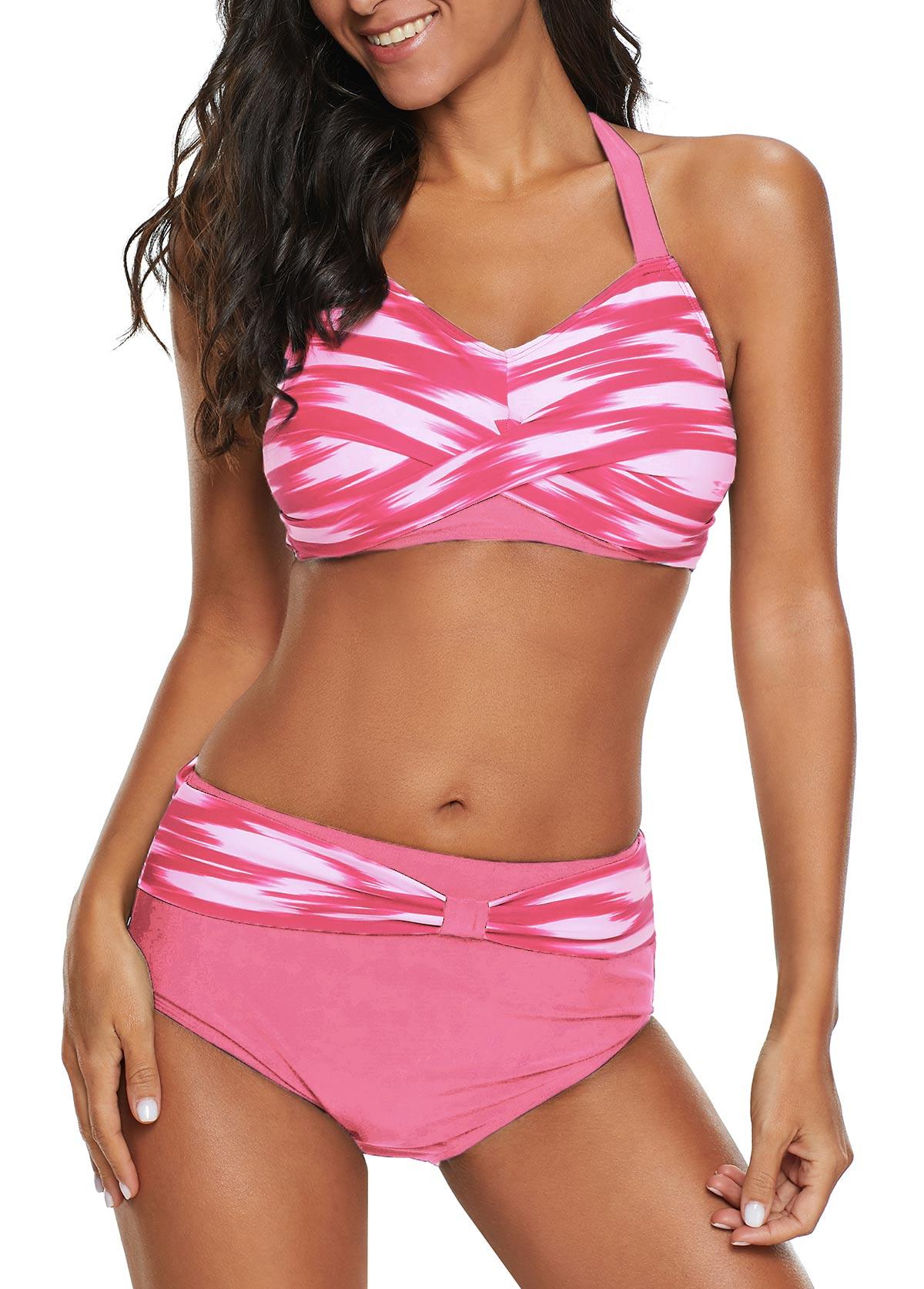 Halter Neck Twist Front High Waist Pink Bikini Set