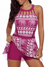 Elephant-Print-Cutout-Front-Swimdress-and-Shorts