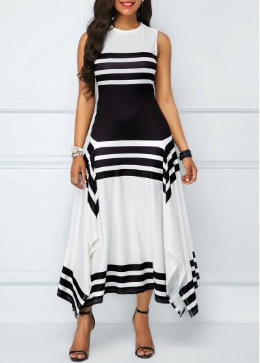 Asymmetric Hem Sleeveless Stripe Print Midi Dress
