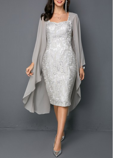 Open Front Top and Tie Back Lace Sheath Dress