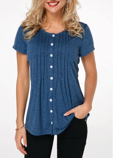 Womens Womens Henley T Shirt Button Up Crinkle Chest Navy Blue T Shirt - L