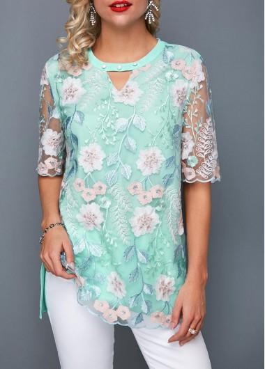 Women's Half Sleeve Blue Lace Top Keyhole Neckline Faux Pearl Lace Blouse - L