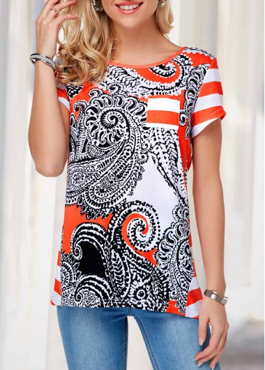 Button Detail Back Slit Short Sleeve T Shirt - S