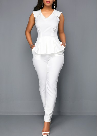 V Neck Peplum Sleeveless White Jumpsuit - M