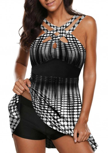 Halter High Neck Strappy Front Dot Print Swimdress and Shorts - L