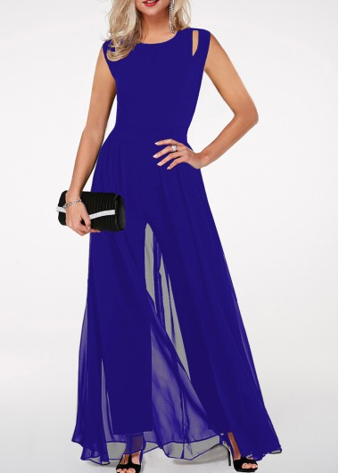Round Neck High Waist Royal Blue Jumpsuit - L