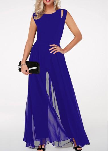 Round Neck High Waist Royal Blue Jumpsuit