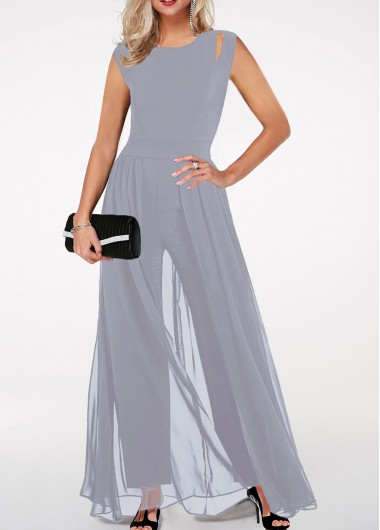 0c64b596de0 56%offQuick ShopAdded Successfully. Round Neck High Waist Light Grey  Jumpsuit