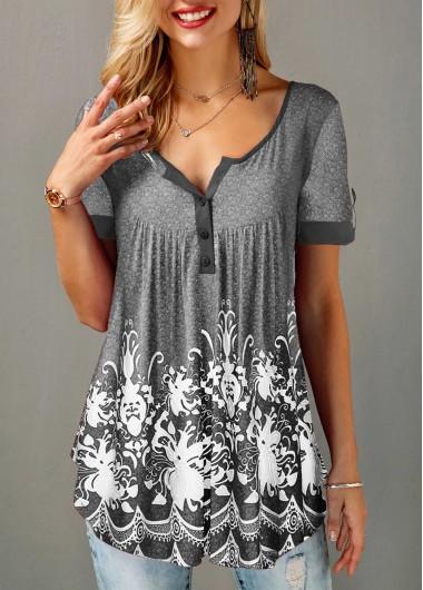 Womens Grey Summer Shirt Button Detail Printed Short Sleeve T Shirt - L
