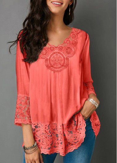 b37552b2c5c0a 57%offQuick ShopAdded Successfully. V Neck Lace Panel ...
