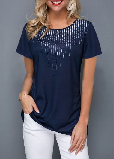 Short Sleeve Printed Navy Blue T Shirt - L
