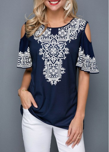 Navy Blue Casual Tunic Shirt For Women Retro Print Cold Shoulder Half Sleeve T Shirt - L
