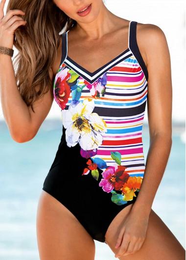 Flower Print Strappy Padded One Piece Swimwear