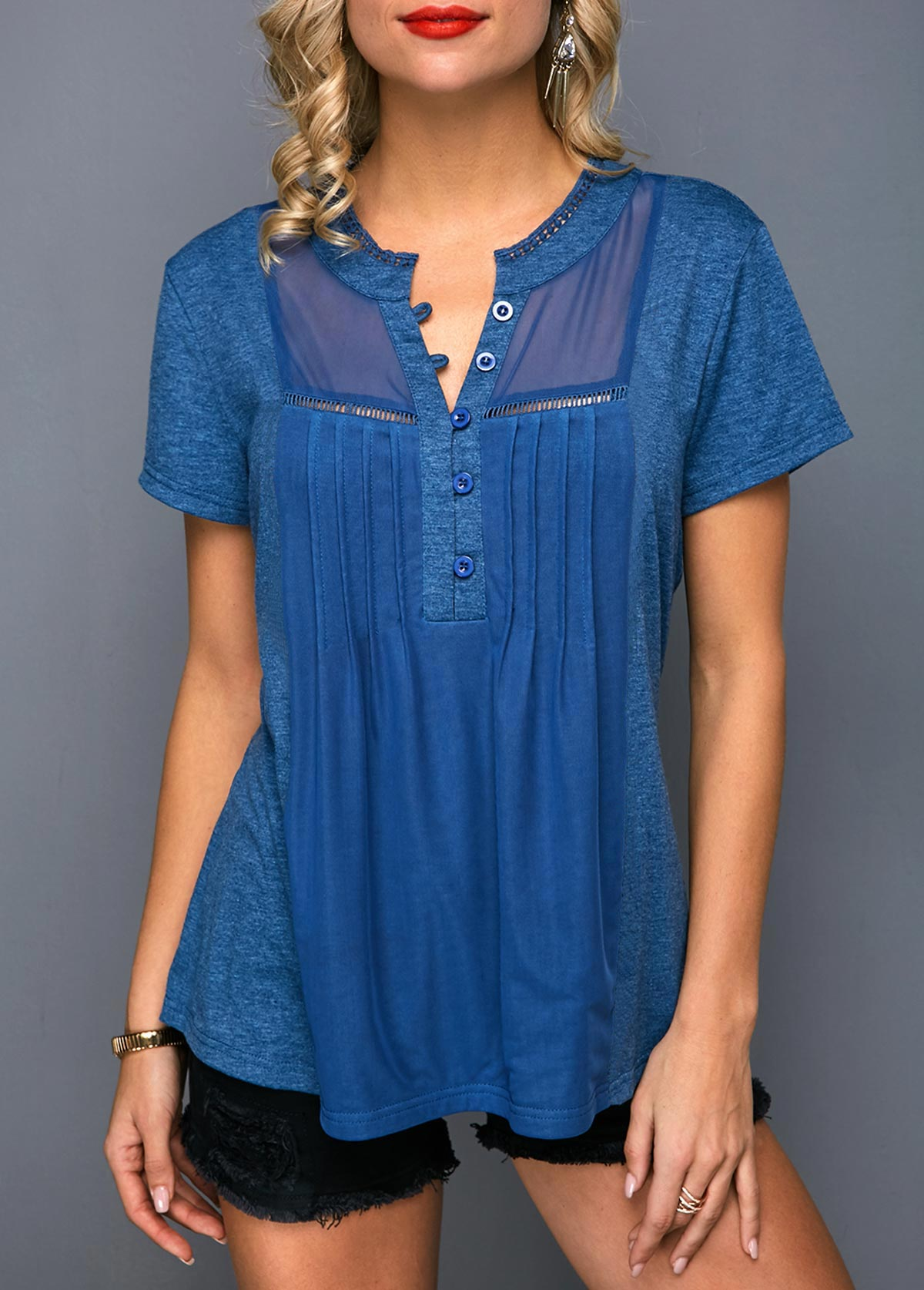 Button Front Short Sleeve Pleated T Shirt