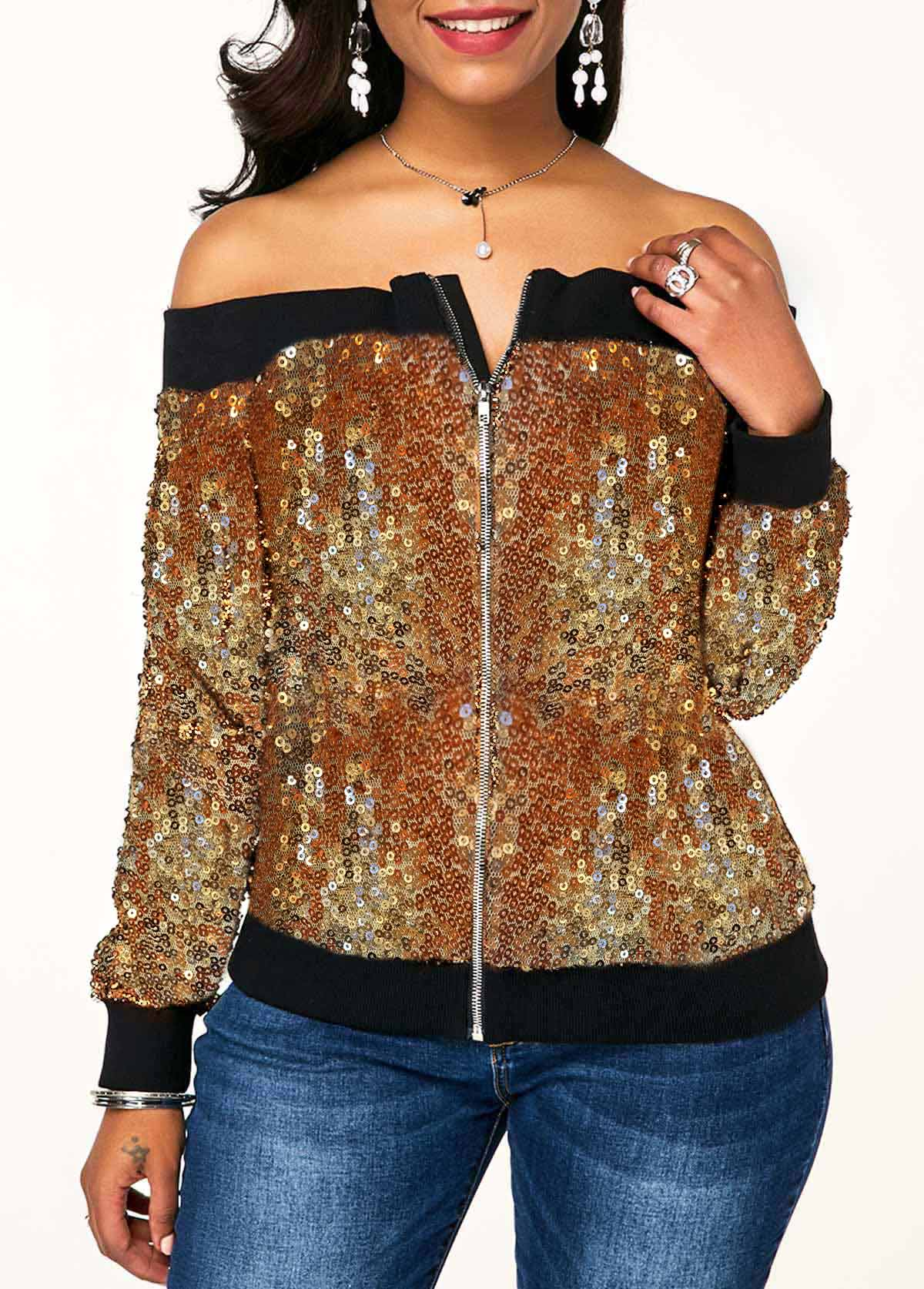 Off the Shoulder Zipper Front Sequin Embellished Sweatshirt