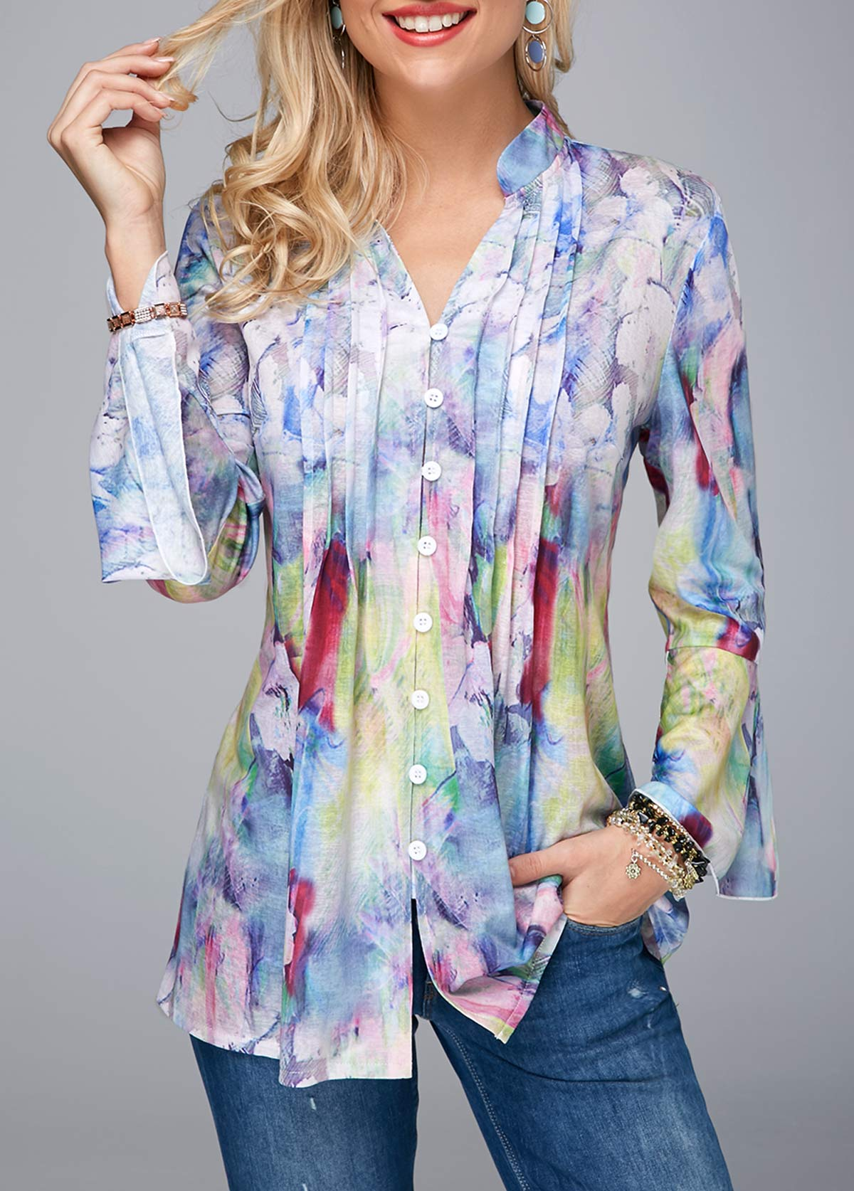 Split Neck Crinkle Chest Flare Cuff Blouse