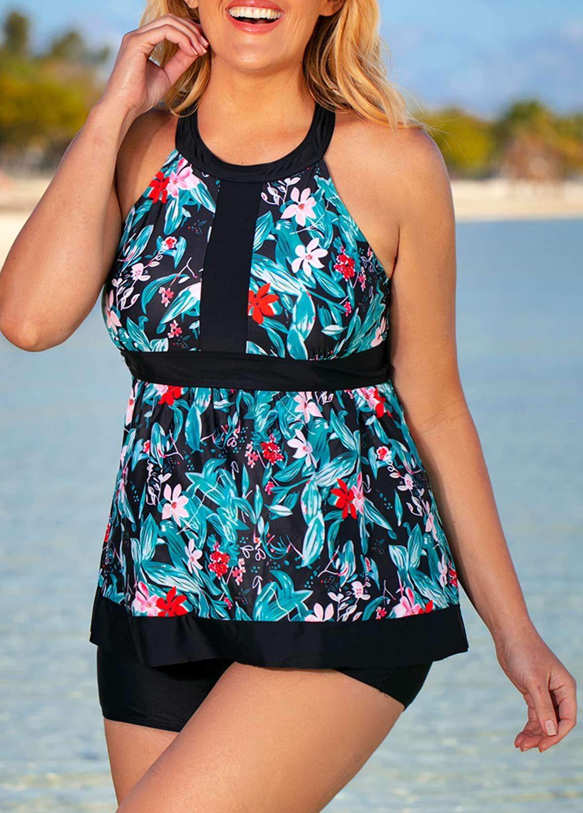 Floral Print H Back Plus Size Tankini Set