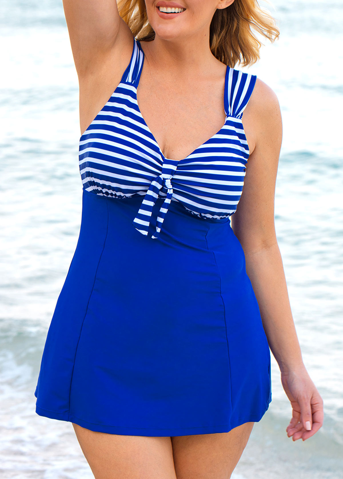 Plus Size Royal Blue Striped Swimdress and Shorts