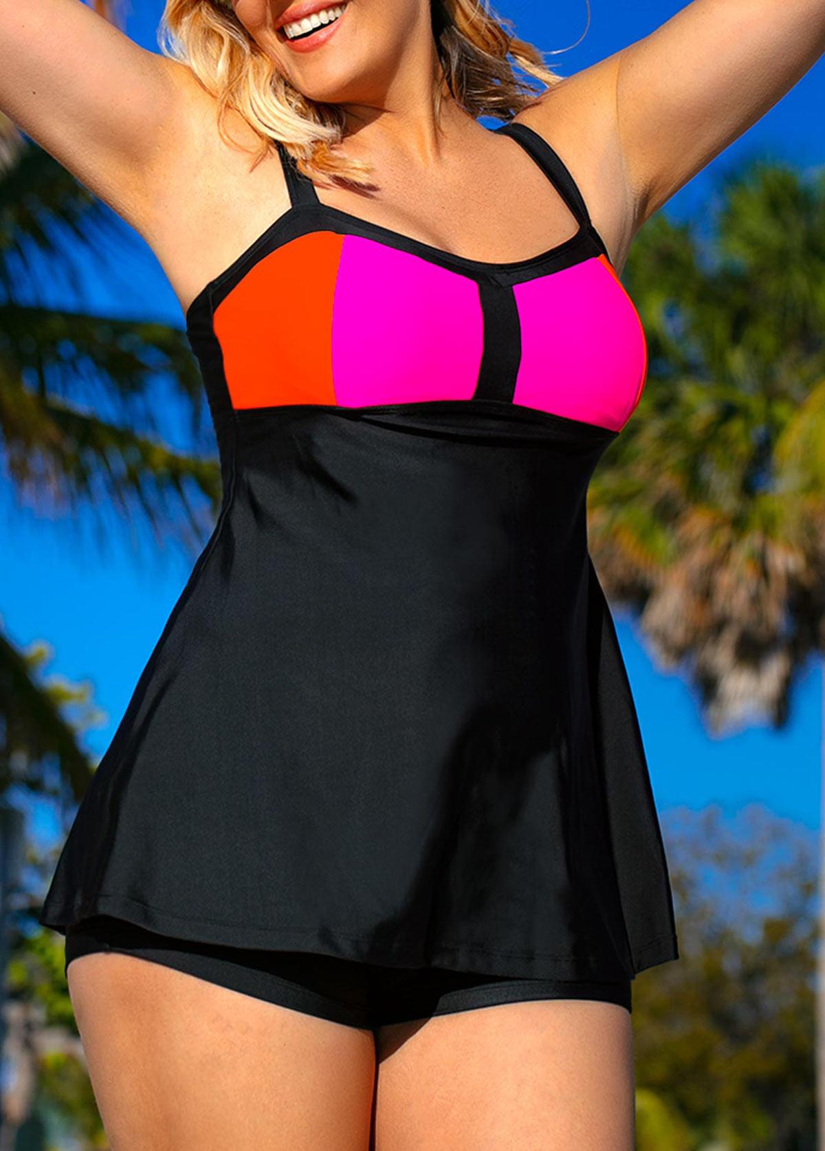 Plus Size Spaghetti Strap Swimdress And Black Shorts Modlily Com Usd 25 03