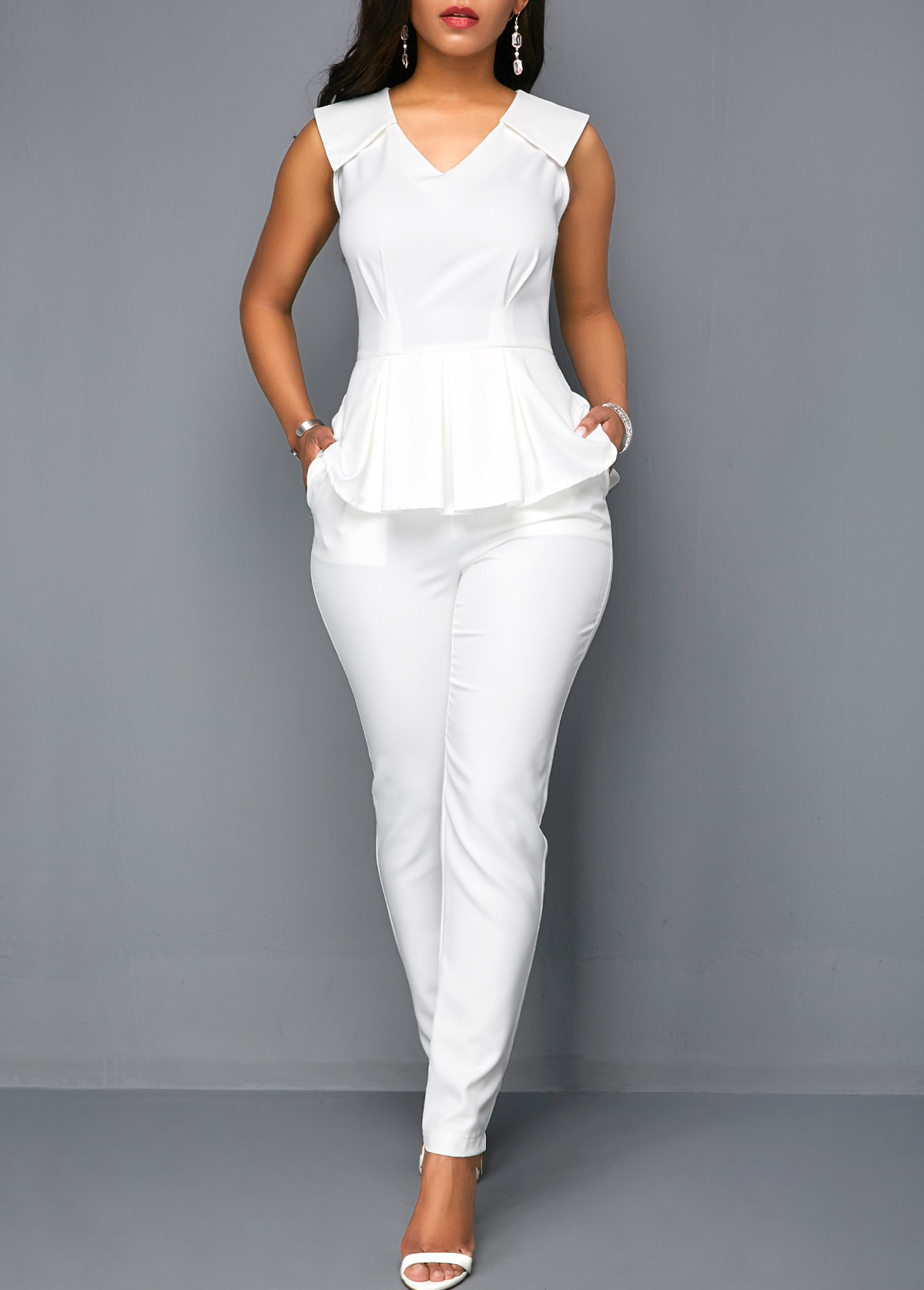 V Neck Peplum Sleeveless White Jumpsuit
