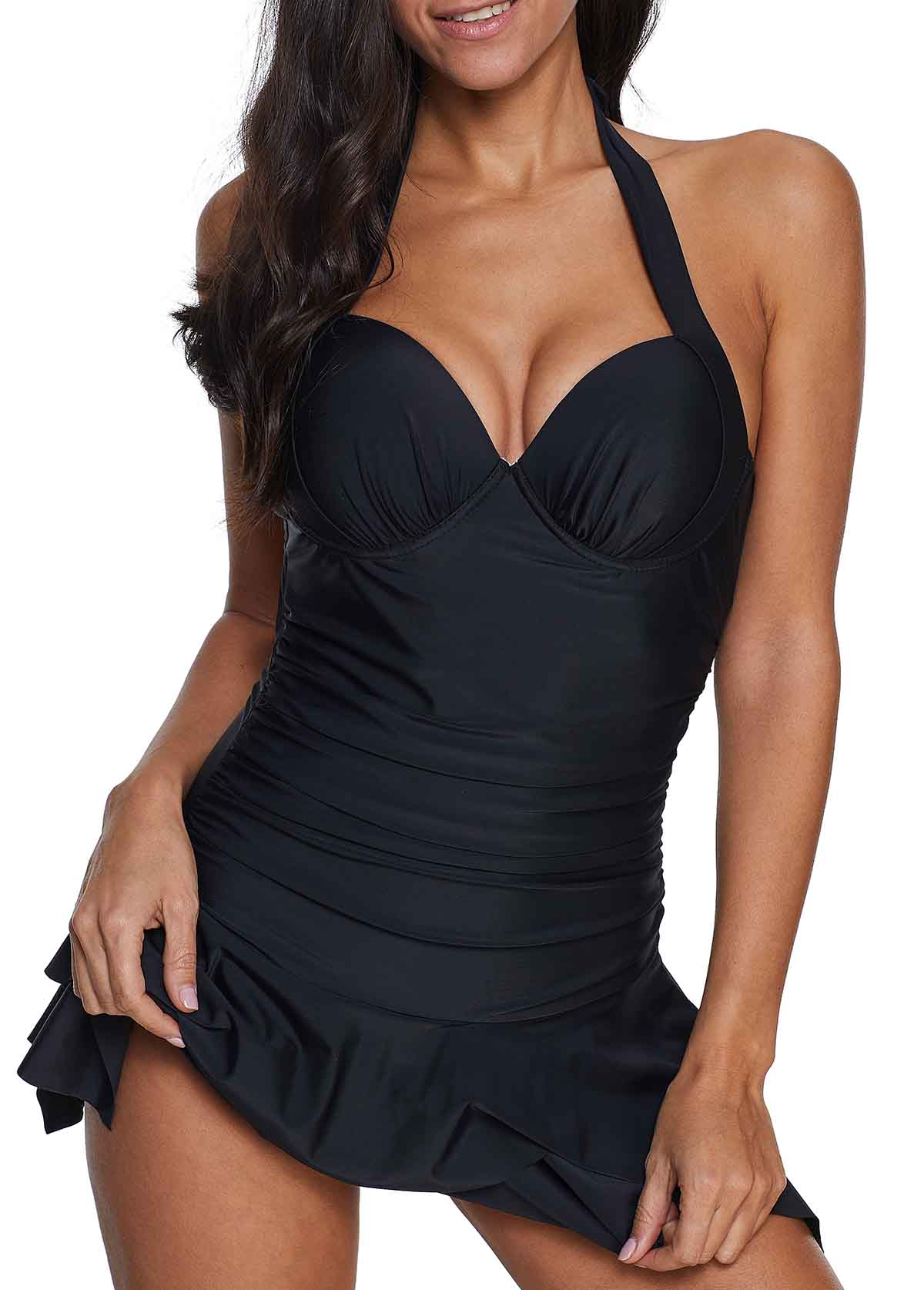 Tie Back Asymmetric Hem Swimdress and Shorts