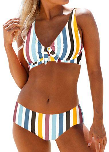 Mid Waist Multi Stripe Spaghetti Strap Bikini Set