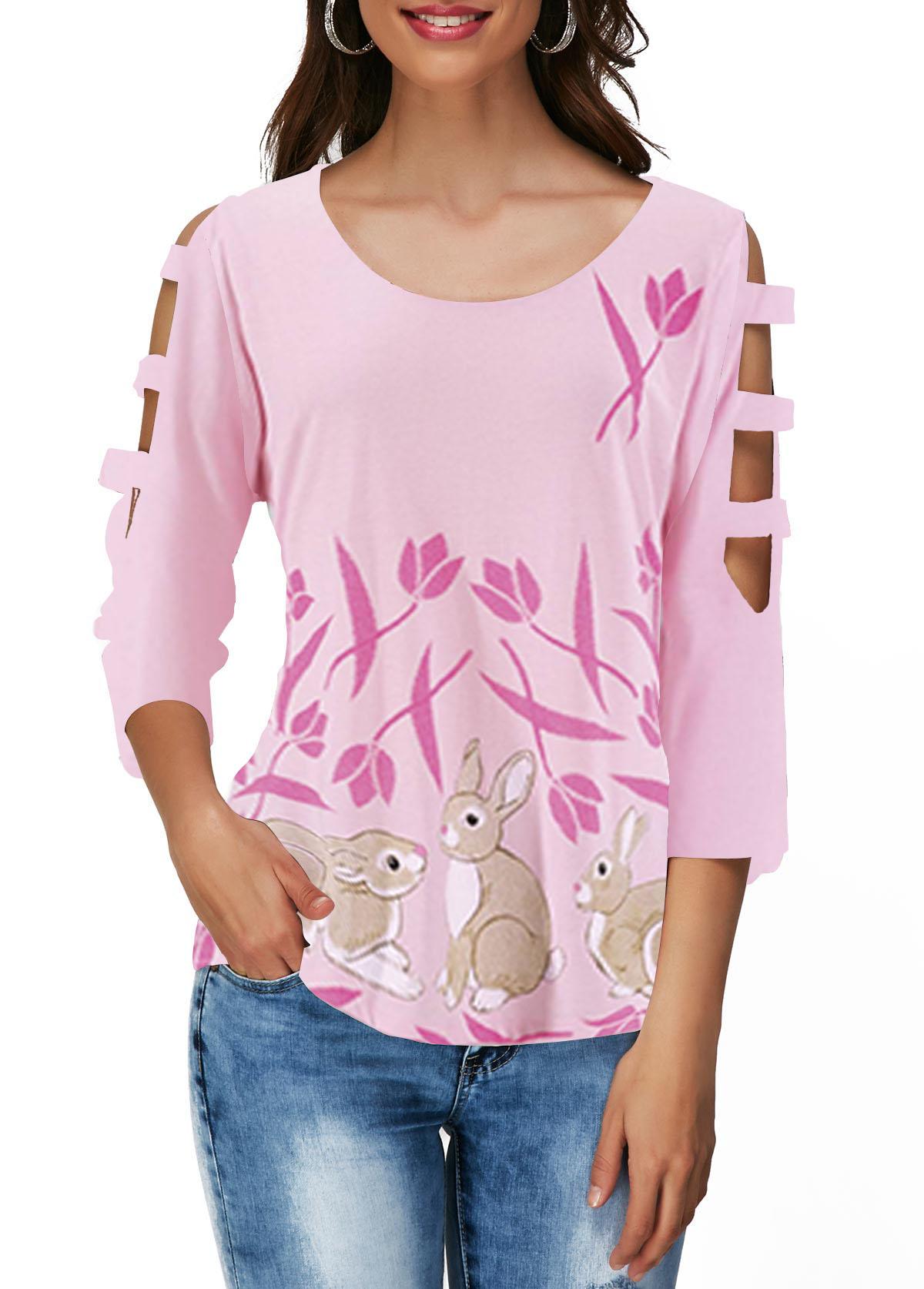 Easter Rabbit Print Cutout Sleeve Light Pink T Shirt