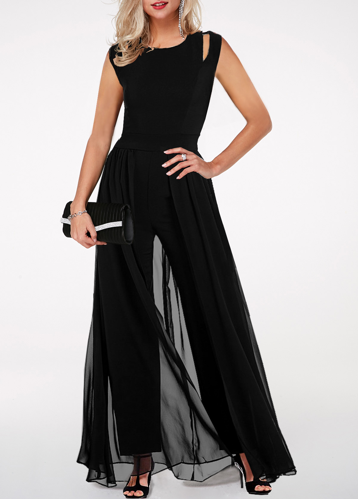 Round Neck High Waist Chiffon Overlay Black Jumpsuit