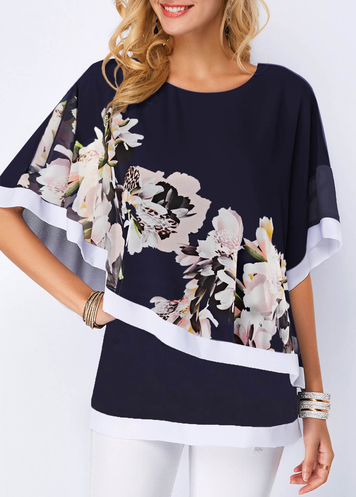 Overlay Embellished Flower Print Round Neck Blouse