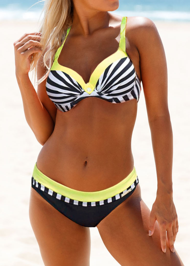 Striped Padded Criss Cross Back Bikini Set