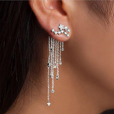Chain Tassel Rhinestone Embellished Silver Earrings