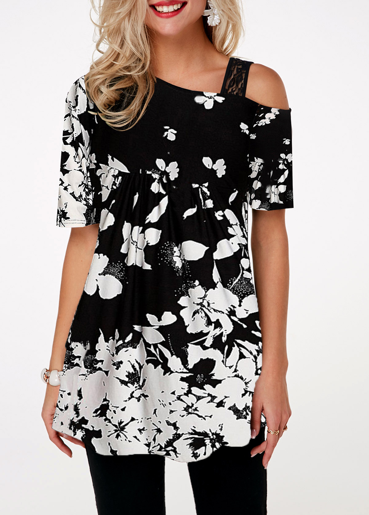 Flower Print Cold Shoulder Lace Detail T Shirt